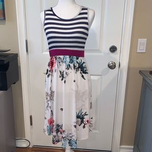Egy  Dress with Striped Top and Floral Skirt.